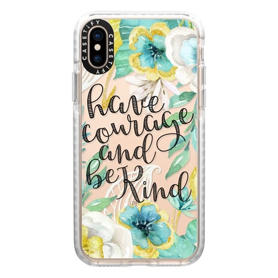 iPhone XS Cases - Have Courage and Be Kind Gold and Teal Watercolor Floral