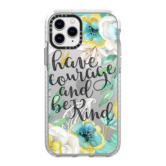 iPhone 11 Pro Cases - Have Courage and Be Kind Gold and Teal Watercolor Floral