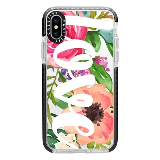 iPhone X Cases - LOVE Watercolor Floral
