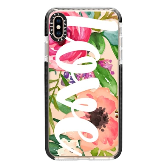 iPhone XS Max Cases - LOVE Watercolor Floral