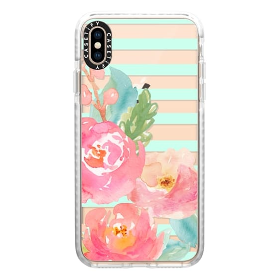 iPhone XS Max Cases - Watercolor Floral Sea-foam Stripes