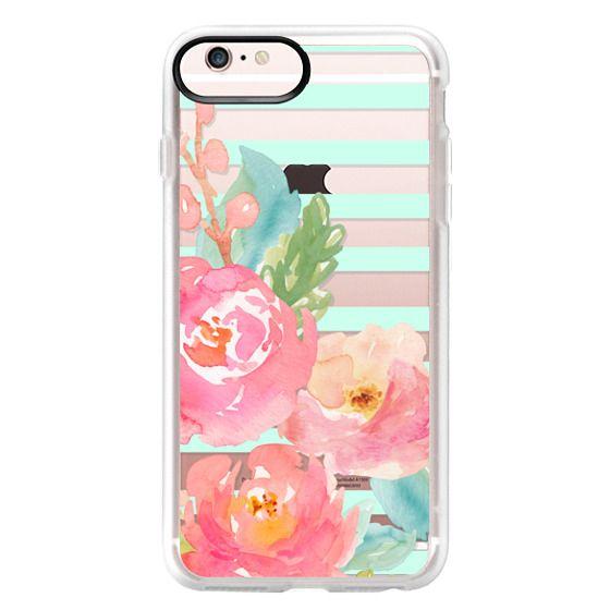 iPhone 6s Plus Cases - Watercolor Floral Sea-foam Stripes