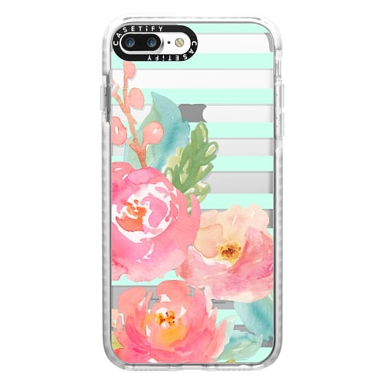 iPhone 7 Plus Cases - Watercolor Floral Sea-foam Stripes