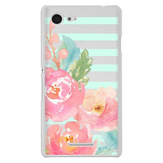 Sony E3 Cases - Watercolor Floral Sea-foam Stripes