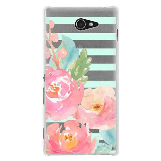 Sony M2 Cases - Watercolor Floral Sea-foam Stripes