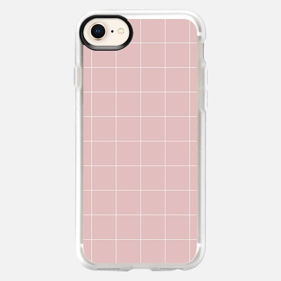 White Grid on Pale Pink - Snap Case
