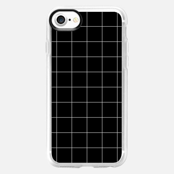 White Grid on Black - Classic Grip Case