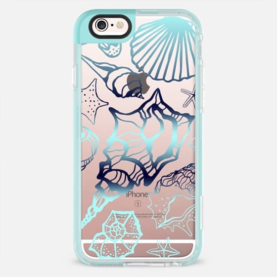 Summer Fun - Sea shells - Metallic Teal - Beach - New Standard Pastel Case