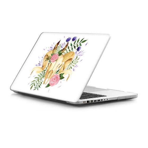 MacBook Pro 13 Sleeves - Floral Boho Rams Skull