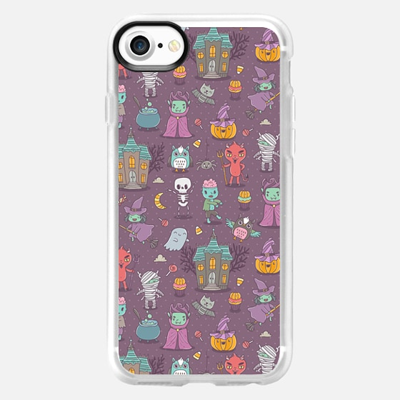 Happy Halloween. Funny holiday friends - Dracula, vampire, zombie, Devil, witch. -
