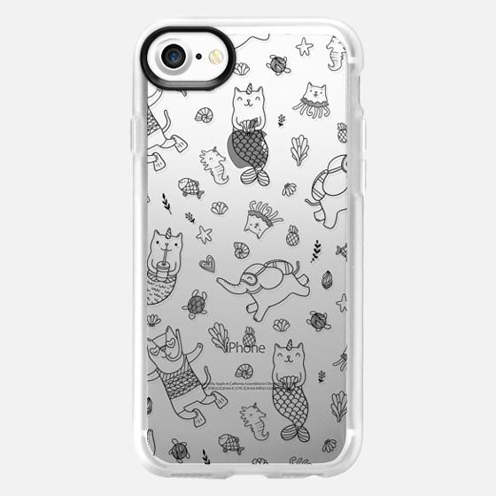 Funny sea life. Cat mermaid, unicatmaid, purrmaid, fish and elephant. Funny cat jelly fish and unicorn kitty. -