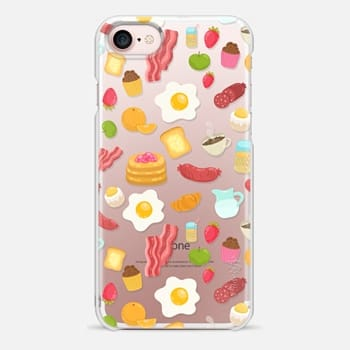 iPhone 7 Case Breakfast food. Eggs, bacon, fruits, coffee, juice, cupcakes, strawberry...