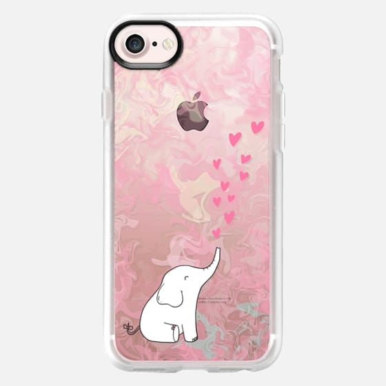 Cute Elephant. Hearts and love. Pink marble background. - Classic Grip Case