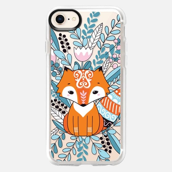 Ethnic Fox with flowers and leaves - Snap Case
