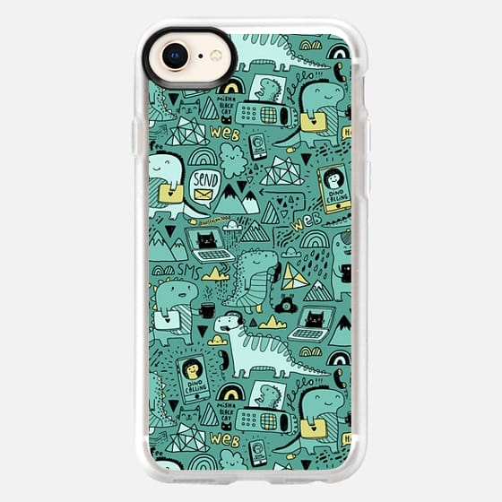 Communication Dinosaurs. Funny Dinos and Black Cat.  - Snap Case