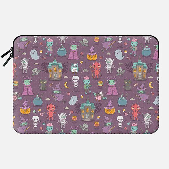 Happy Halloween. Funny holiday friends - Dracula, vampire, zombie, Devil, witch. - Macbook Sleeve