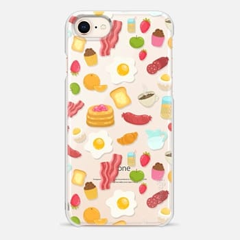 iPhone 8 Case Breakfast food. Eggs, bacon, fruits, coffee, juice, cupcakes, strawberry...