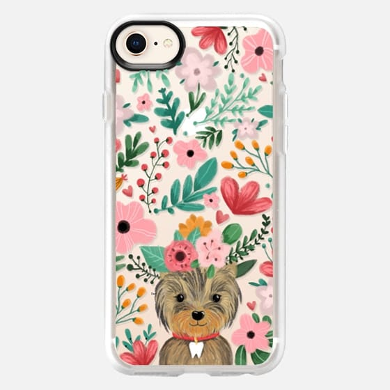 Cute yorkie dog. Yorkshire terrier with summer flowers and tooth necklace. - Snap Case