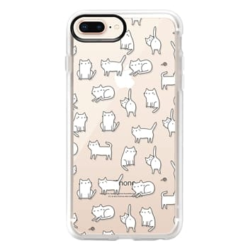 Grip iPhone 8 Plus Case - Cute cats. Doodle hand drawn kittens.