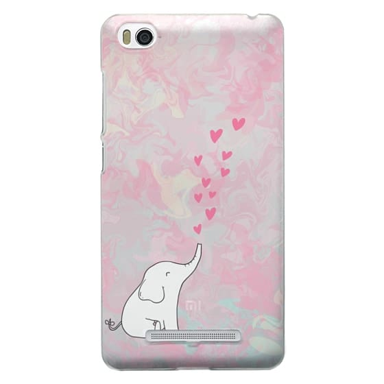 Cute Elephant. Hearts and love. Pink marble background.