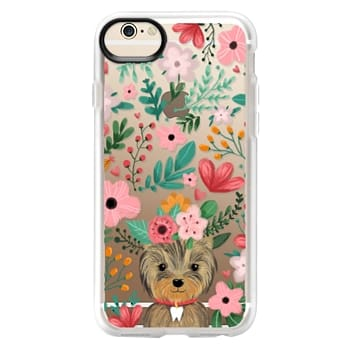 Grip iPhone 6 Case - Cute yorkie dog. Yorkshire terrier with summer flowers and tooth necklace.