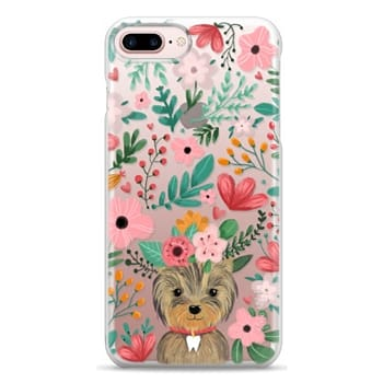 Snap iPhone 7 Plus Case - Cute yorkie dog. Yorkshire terrier with summer flowers and tooth necklace.