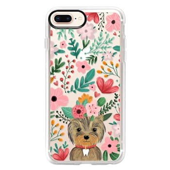 Grip iPhone 8 Plus Case - Cute yorkie dog. Yorkshire terrier with summer flowers and tooth necklace.