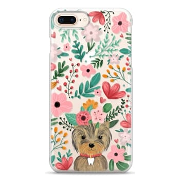Snap iPhone 8 Plus Case - Cute yorkie dog. Yorkshire terrier with summer flowers and tooth necklace.
