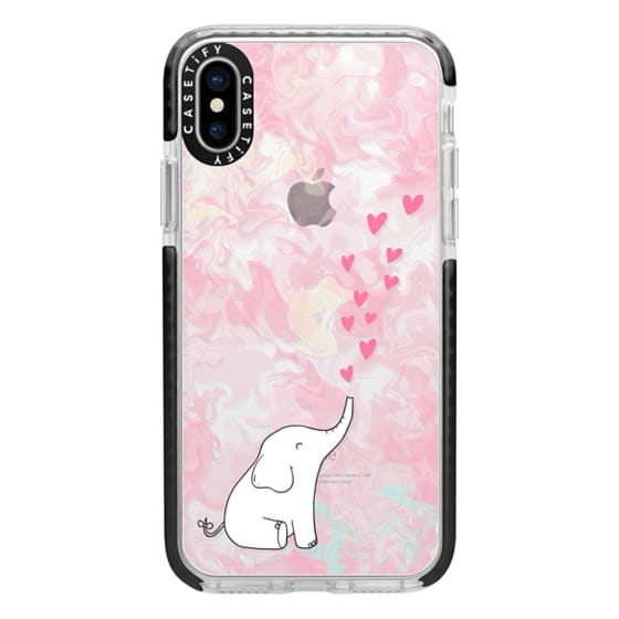 iPhone X Cases - Cute Elephant. Hearts and love. Pink marble background.