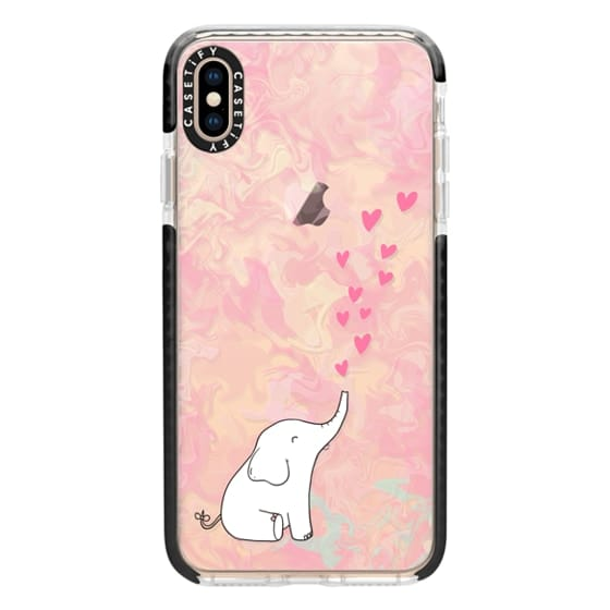 iPhone XS Max Cases - Cute Elephant. Hearts and love. Pink marble background.