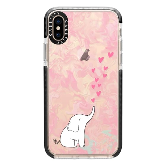 iPhone XS Cases - Cute Elephant. Hearts and love. Pink marble background.