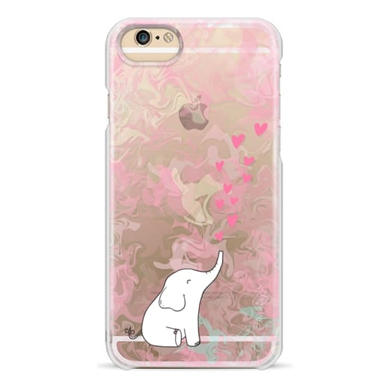 iPhone 6 Cases - Cute Elephant. Hearts and love. Pink marble background.