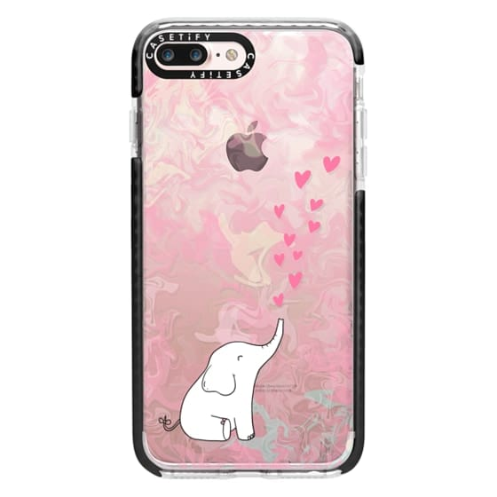 iPhone 7 Plus Cases - Cute Elephant. Hearts and love. Pink marble background.
