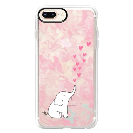 iPhone 8 Plus Cases - Cute Elephant. Hearts and love. Pink marble background.