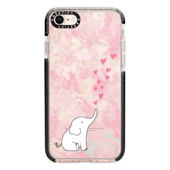 iPhone 8 Cases - Cute Elephant. Hearts and love. Pink marble background.