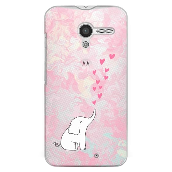 Moto X Cases - Cute Elephant. Hearts and love. Pink marble background.