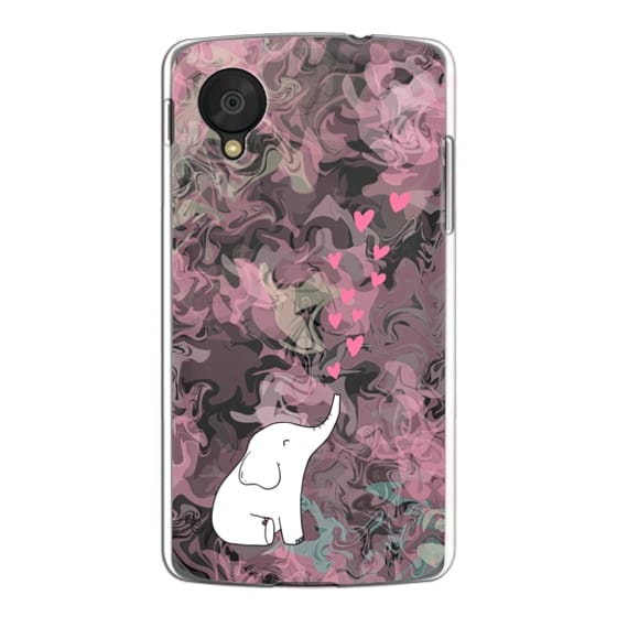 Nexus 5 Cases - Cute Elephant. Hearts and love. Pink marble background.