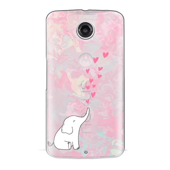 Nexus 6 Cases - Cute Elephant. Hearts and love. Pink marble background.