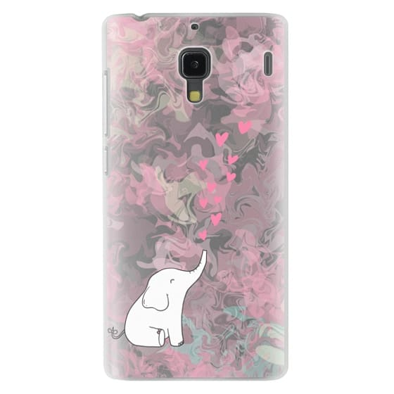 Redmi 1s Cases - Cute Elephant. Hearts and love. Pink marble background.