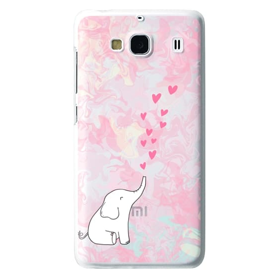 Redmi 2 Cases - Cute Elephant. Hearts and love. Pink marble background.
