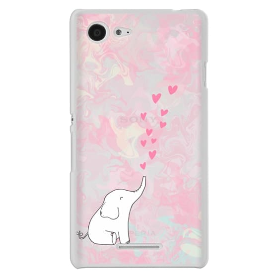 Sony E3 Cases - Cute Elephant. Hearts and love. Pink marble background.