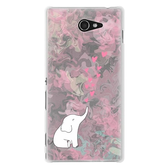 Sony M2 Cases - Cute Elephant. Hearts and love. Pink marble background.