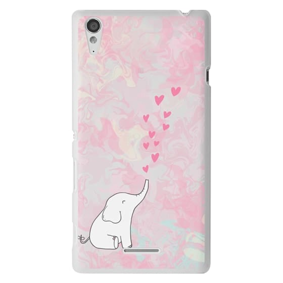 Sony T3 Cases - Cute Elephant. Hearts and love. Pink marble background.
