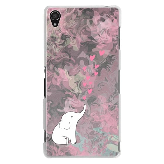 Sony Z3 Cases - Cute Elephant. Hearts and love. Pink marble background.