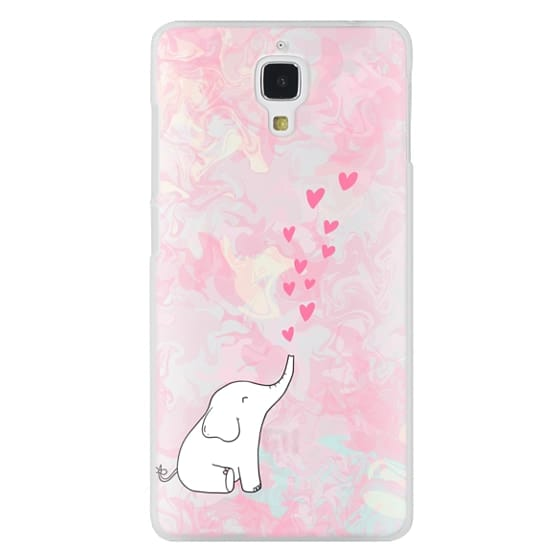 Xiaomi 4 Cases - Cute Elephant. Hearts and love. Pink marble background.