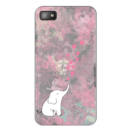 Blackberry Z10 Cases - Cute Elephant. Hearts and love. Pink marble background.