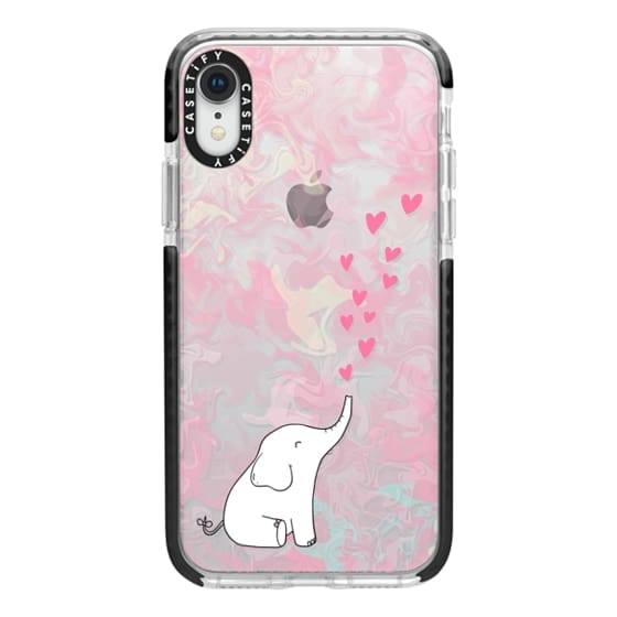 iPhone XR Cases - Cute Elephant. Hearts and love. Pink marble background.