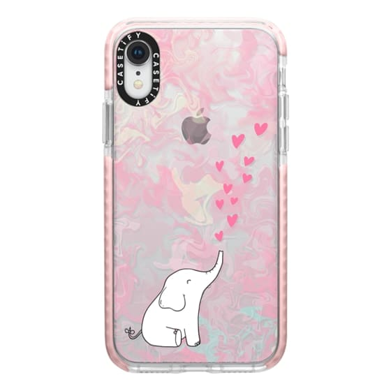 Cute Elephant Hearts And Love Pink Marble Background Casetify