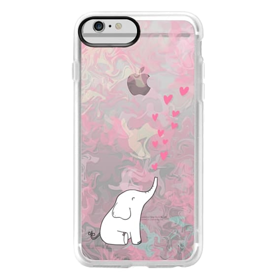 iPhone 6 Plus Cases - Cute Elephant. Hearts and love. Pink marble background.
