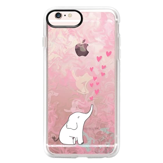 iPhone 6s Plus Cases - Cute Elephant. Hearts and love. Pink marble background.